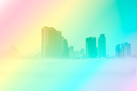 abstract blurred photo de focused of city building in Bangkok, Thailand in gradient filter