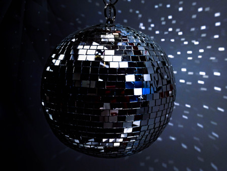 disco mirrorball: white disco ball in dark with reflection Stock Photo