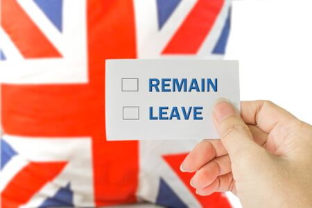 remain: brexit UK EU referendum concept with background of blurred England flag and leave, remain choices for vote