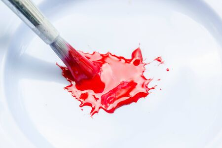 red water color with brush in white palete