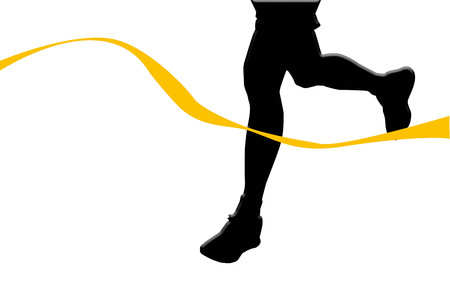 finished: silhouette of runner at finished line isolated on white background Stock Photo