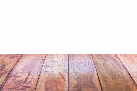 montage: empty perspective grungy wood table top texture isolated on white background: for product display montage