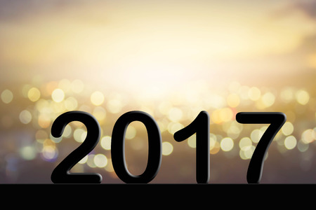 de focused: 2017 text on blur bokeh background Stock Photo