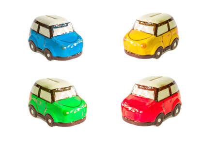 mini car: colorful mini car piggy bank isolated on white background