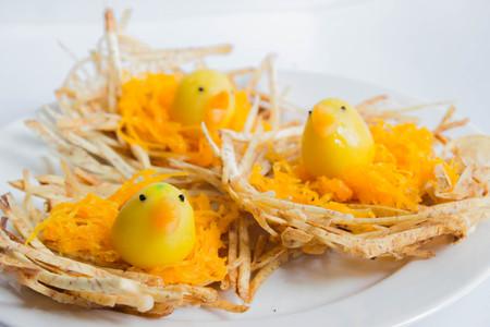 Kanom Look Choup  : Thai traditional dessert in form of birds on stir-fried taro nest