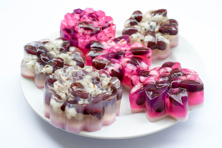 jelly in flower shape : Thai traditional dessert made from sugar, gelatin and coconut milk with grains
