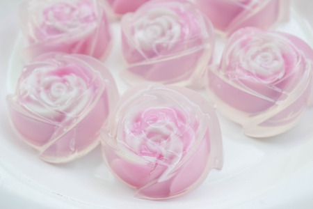 sweet  jelly in rose shape : Thai traditional dessert made from sugar, gelatin and coconut milk