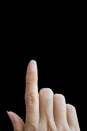 hand pointing isolated on black background