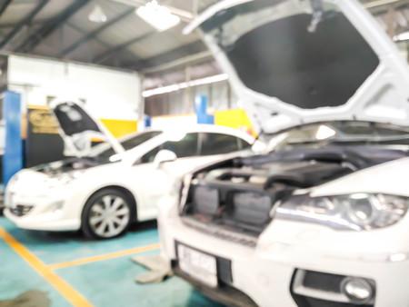 blur of car repair in service station