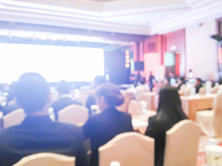 abstract blurred of business people in seminar room : for background use