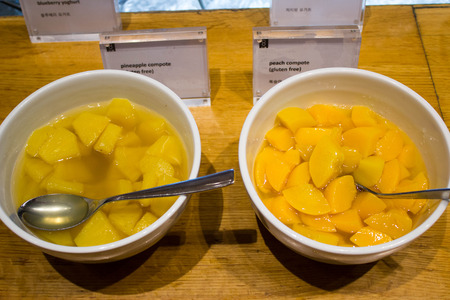 restuarant: pineapple and peach compote on the table in korea restuarant