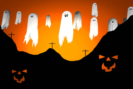 Halloween white ghost in graves halloween backgrounds
