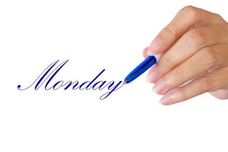 hand writting love Monday on white background