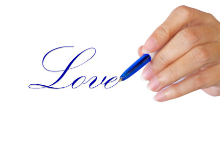 hand writting love word on white background