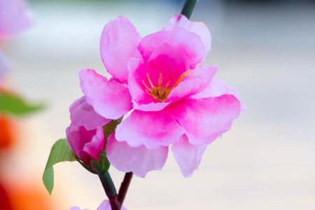 close up of pink fabric flower on blur background