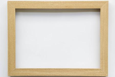 wooden rectangle frame on white background Stock Photo