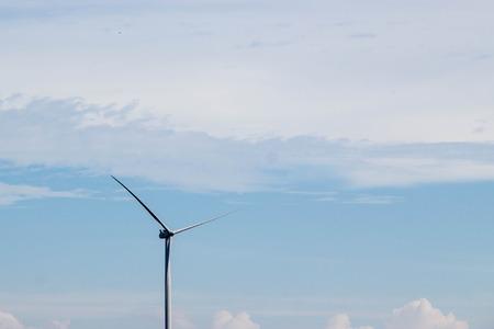 wind turbine on blue sky and white cloud