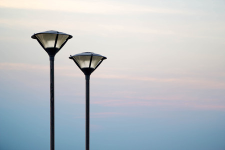 street lamp pole on beautiful sky background Stock Photo