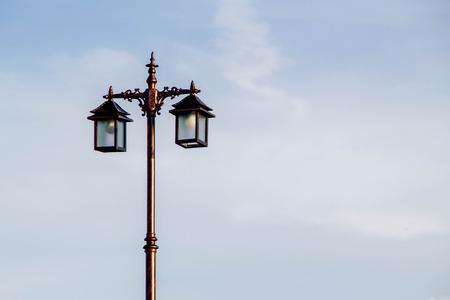 street lamp pole on blue sky background
