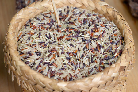 mix of brown rice in basket
