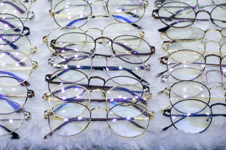 eyeglasses on white  wool background 写真素材