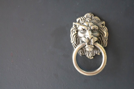 closeup of golden lion head knocker on black door