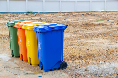 Different Colored Bins For separating trash