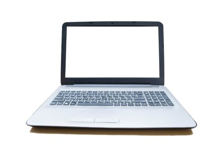labtop with blank white screen isolated on white background 写真素材 - 125695119
