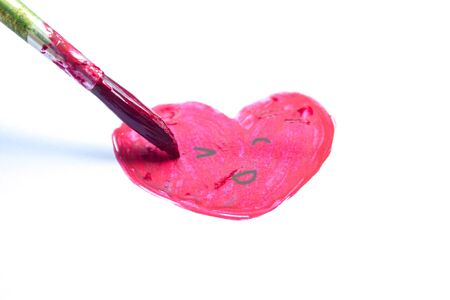 hand draw watercolor pink heart on white background 写真素材
