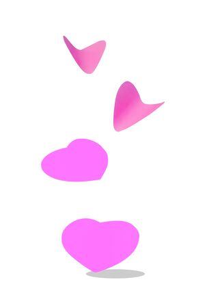 colored pink sheet of note paper, sticker note, note pad in heart shape flying in the air