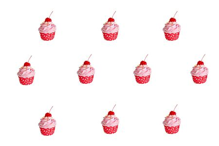 pattern of cupcakes in red cup with buttercream and red cherry on top  on whitebackground