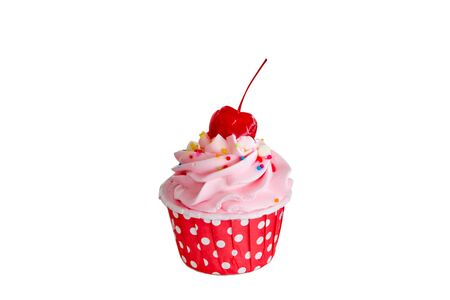 cupcakes in red cup with buttercream and red cherry on top isolated on white background