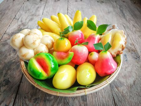 kanom Look Choup : Thai traditional dessert made from green been, coconut milk, sugar and jelly in fruit shape (look like Marzipan) : deletable imitation