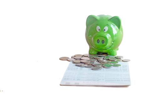 coins on book bank with green piggy bank isolated on white background : concept of saving money 写真素材