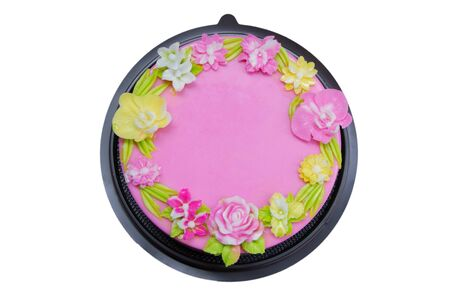 Jelly cake or Agar agar cake decorate with flower on pink background 写真素材