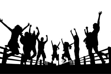 silhouette of happy people jumping isolated on white background