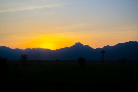mountain with beautiful sunset sky