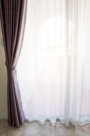 Close up of curtain part of draperies in room 写真素材