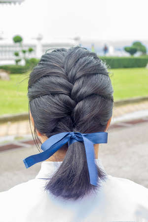 braid or pigtails hair style of girl with blue ribbon