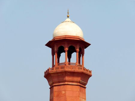 Top of Badshahi Mosques Minaret - One of the most famous landmarks and tourist destination of Pakistan built in 16th century is also one of the largest mosques in the world.  photo