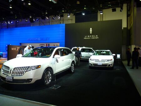 DUBAI, UAE - DECEMBER 19, 2009: Lincoln Motors SUVs on display during Dubai Motor Show 2009 at Dubai Intl Convention and Exhibition Centre
