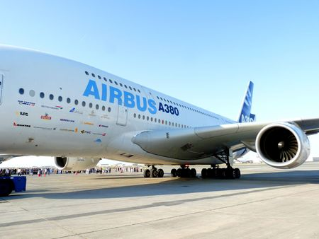 DUBAI, UAE - NOVEMBER 19: Airbus A380 aircraft on display during Dubai Air Show 2009 at Airport Expo Dubai November 19, 2009 in Dubai, United Arab Emirates.