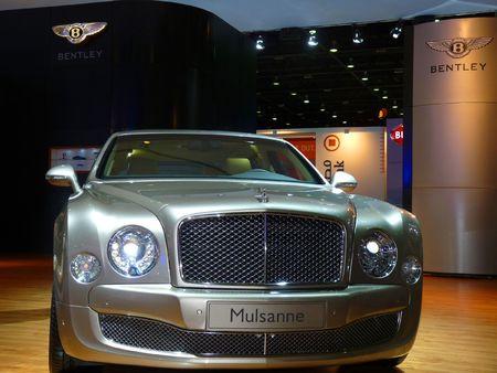 DUBAI, UAE - DECEMBER 19: Bentley Mulsanne on display during Dubai Motor Show 2009 at Dubai Intl Convention and Exhibition Centre