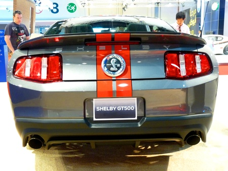 ABU DHABI, UAE - DECEMBER 10: Shelby GT500 on display during Abu Dhabi Intl Motor Show 2010 at Abu Dhabi Intl Exhibition Centre December 10, 2010 in Abu Dhabi,United Arab Emirates.