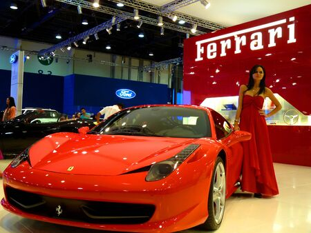 ABU DHABI, UAE - DECEMBER 10:Ferrari 458 Italia on display during Abu Dhabi Int'l Motor Show 2010 at Abu Dhabi Int'l Exhibition Centre December 10, 2010 in Abu Dhabi,United Arab Emirates. Stock Photo - 9063045