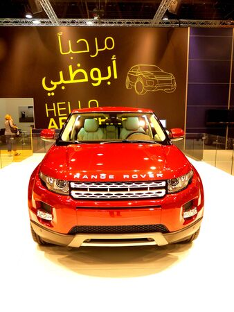 ABU DHABI, UAE - DECEMBER 10: Range Rover Evoque on display during Abu Dhabi Int'l Motor Show 2010 at Abu Dhabi Int'l Exhibition Centre December 10, 2010 in Abu Dhabi,United Arab Emirates. Stock Photo - 9073523