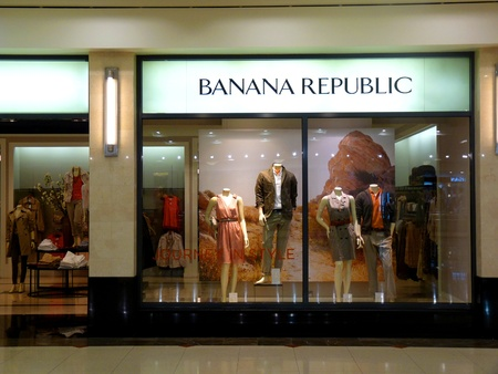 famous industries: Dubai - 3 MARCH 2011: Banana Republic Fashion retail store in Deira City Center, Dubai on 03.03.2011. Editorial
