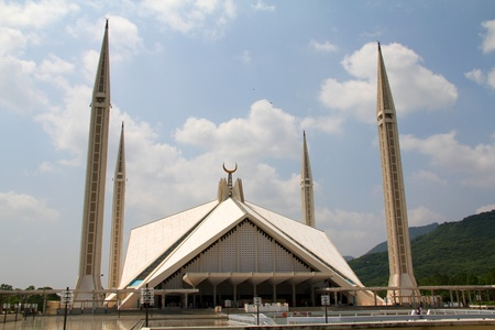 islamic scenery: Courtyard View Shah Faisal Mosque Islamabad Stock Photo