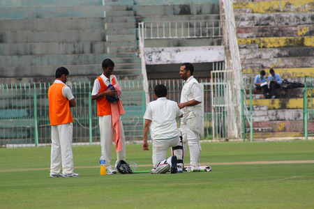 jinnah: SIALKOT, PAKISTAN - OCTOBER 10: Quaid-e-Azam Trophy Cricket Match Played Between Sialkot and HBL Teams at Jinnah Cricket Stadium. October 10, 2015 in Sialkot, Pakistan Editorial