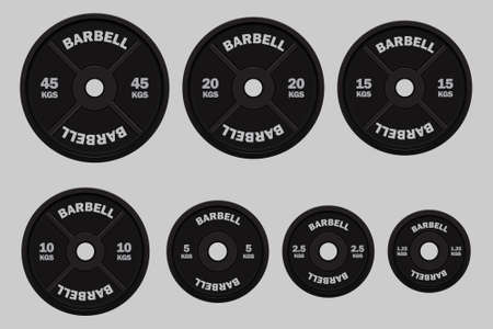 Vector realistic black weight plates in different weights. Gym equipment. Weight for bodybuilding and power lifting. Isolated on gray background